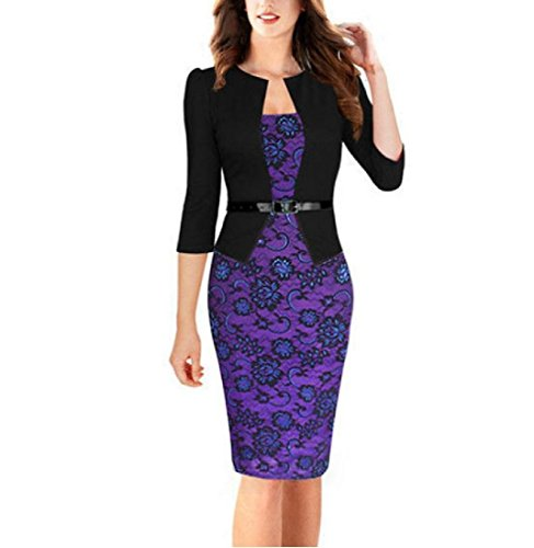 Bodycon Casual Floral Dress Pencil Business 1 Coolred Dress Women's Tunic wRxtOO
