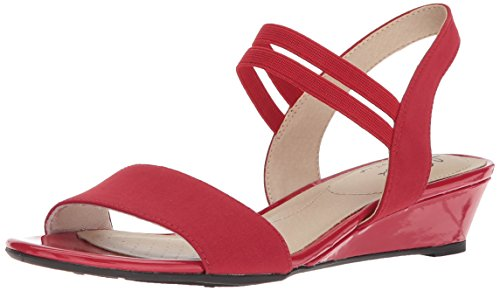 (LifeStride Women's YOLO Wedge Sandal, red, 9 M US)