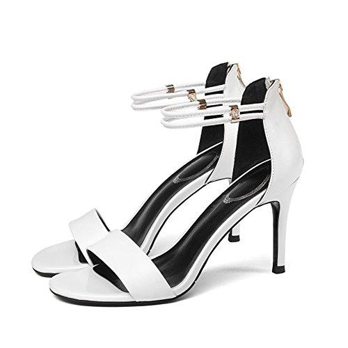 Per A Open Alti Tacchi Anelli Da Cy Estate Spillo Incontri Back Banchetto White Donna Scarpe Sandali Toe 9cm Zips Pedale 7qPAg6