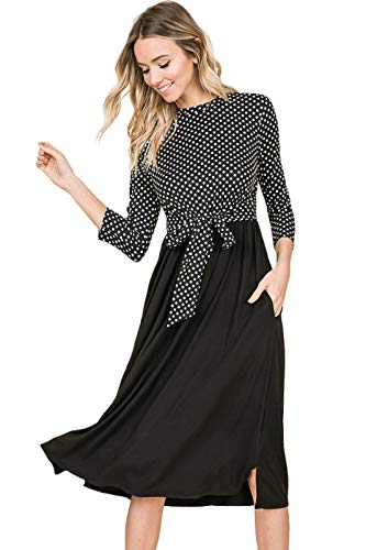 iconic luxe Women's Polka Dot Contrast Midi Dress with Tie Small Polka Dot Black ()
