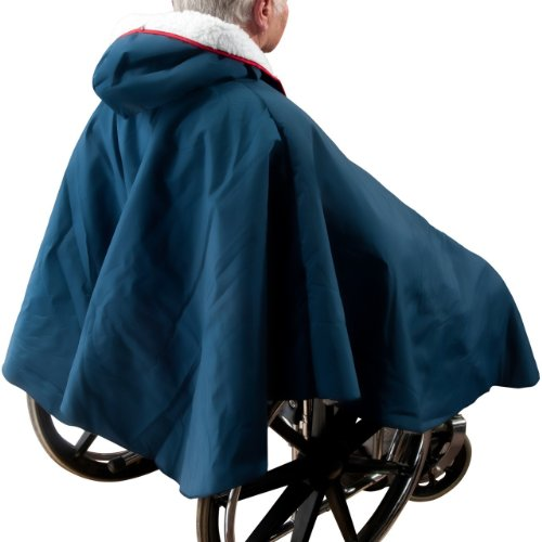 Warm Wheelchair Poncho with Sherpa-Like Lining (Navy Blue) by Unknown (Image #2)