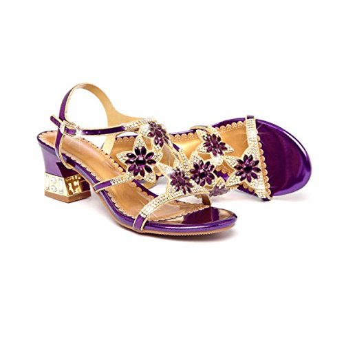 Sandalias Europa De Tacón Purple Altos Y Bajo Pantuflas Tirantes Tacones Verano Tobillo Imitación Cuero Mujer Bajos Diamantes Para rRvrxqwE