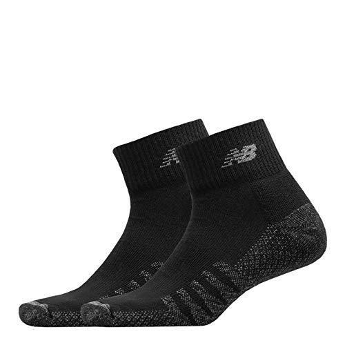 Unisex New Balance, Coolmax Quarter Socks - 2 Pack BLACK L M