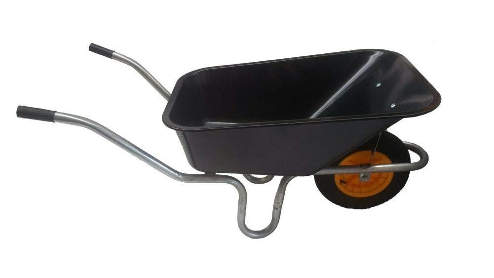 """110L METAL GREEN PAN HEAVY DUTY WHEEL BARROW 14/"""" BLACK PUNCTURE PROOF WHEEL"""