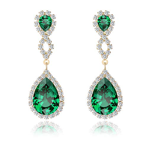 Miraculous Garden Womens Drop Pierced Infinity Earrings Teardrop Dangle Rhinestone Crystal for Wedding Prom Party Silver Rose Gold Plated (Green)