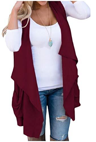 Kankanluck 女性の純粋なウエストコートのポケットは、ノースリーブ不規則な心臓アウターウェアを突破します