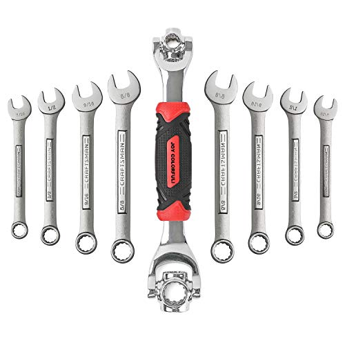 JOY COLORFUL Multifunction Universal Wrench, 360 Degree Revolving Spanner, 48 Tools In One Socket, Works with Spline Bolts,Torx,Square Damaged Bolts and Any Size Standard or Metric ()