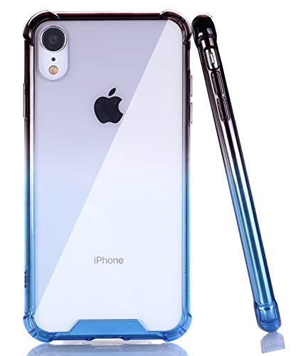 - BAISRKE iPhone XR Case, Slim Shock Absorption Protective Cases Soft TPU Bumper & Hard Plastic Back Cover for iPhone XR 2018 [6.1 inch] - Black Blue Gradient