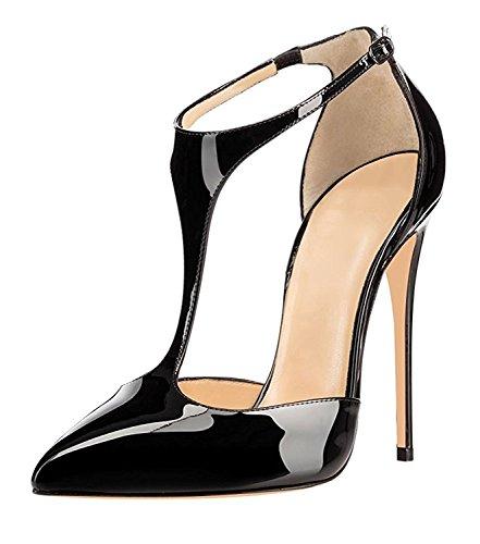 Soireelady Womens Ladies T-strap High Heels 12CM Pointed Toe Court Shoes Black QU4cU8wxD