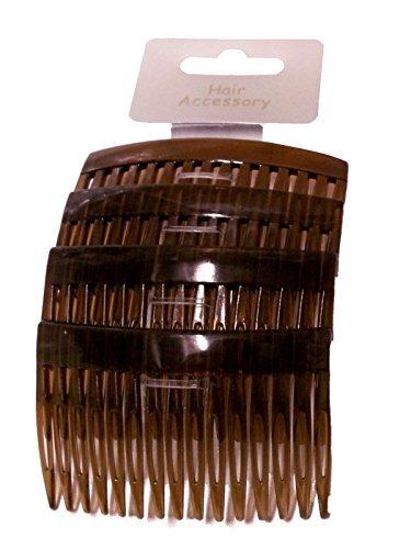 Set of 4 Tort Plain Hair Combs Slides 7cm (2.8) by Pritties Accessories