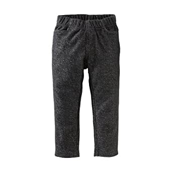 Tea Collection Baby Girls' Sparkle French Terry Pant, Jet Black, Small