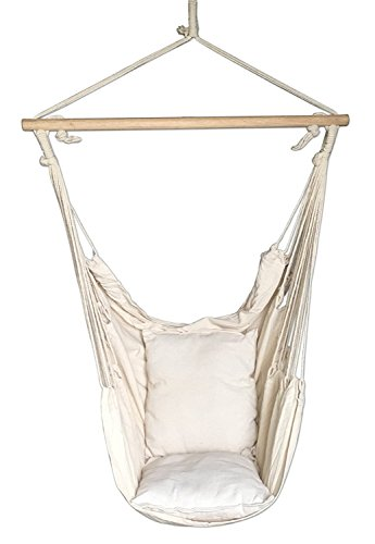 SueSport Hanging Rope Hammock Chair Porch Swing Seat Sky Chair with cushions for Any Indoor or Outdoor Spaces - Max. 265 Lbs - 2 Seat Cushions Included (Outdoor Hanging Swing Chair)