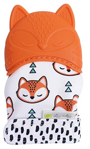 (Itzy Ritzy Silicone Teething Mitt - Soothing Infant Teething Mitten with Adjustable Strap, Crinkle Sound and Textured Silicone to Soothe Sore and Swollen Gums, Fox)