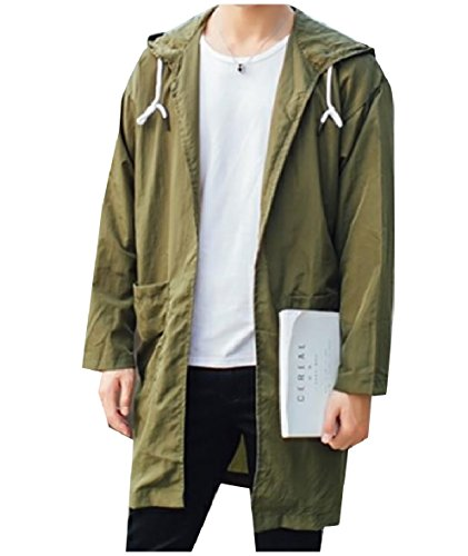 Slim Men's Trenchcoat Hooded Army Jacket Sunscreen Green XINHEO Fit Zip Solid Z5xnqd
