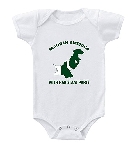 Made in America with Pakistani Parts Infant Toddler Baby Bodysuit One Piece 6 Months White
