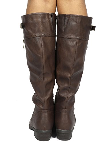 calf Wide Boots Koson PAIRS wide Calf DREAM High Knee Riding Brown Winter Women's 78R0RSqw