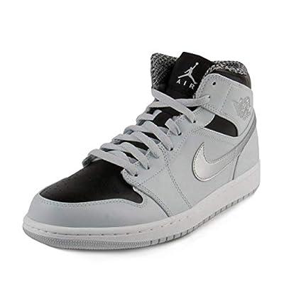 Jordan Men Air Jordan 1 Mid Shoe (Pure Platinum/White-Metallic Silver) Size 13 US