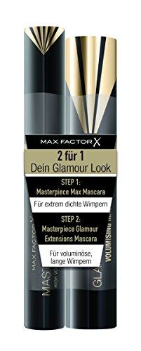 Max Factor Mascara Set, Masterpiece Max black plus Masterpiece Glamour Extensions black, 2er Pack (2 x 7 g)
