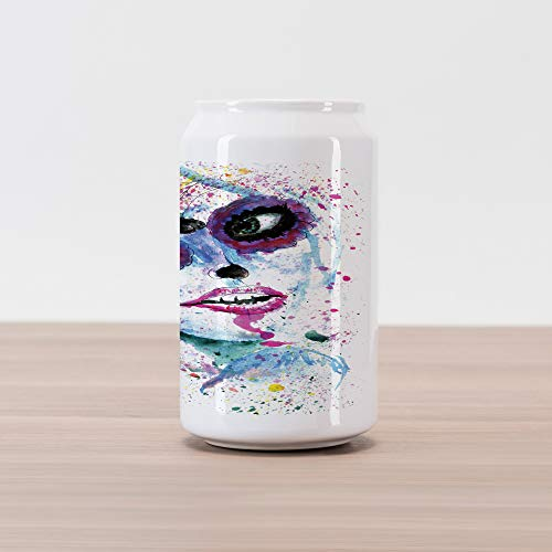 Ambesonne Ethnic Cola Can Shape Piggy Bank, Grunge Halloween Lady with Sugar Skull Make Up Creepy Dead Face Gothic Woman Artsy, Ceramic Cola Shaped Coin Box Money Bank for Cash -