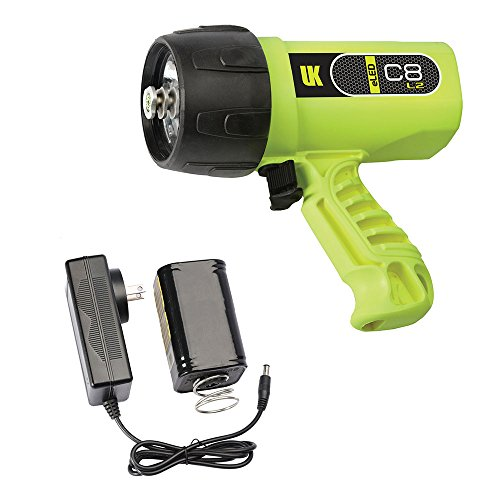 Underwater Kinetics C8 eLED (L2) Dive Light, Rechargeable w/ NiMH Battery/Charger, Safety Yellow