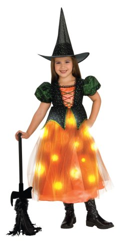 Child's Twinkle Witch Costume with Fiber Optic Twinkle Skirt - -