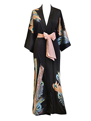 Old Shanghai Women's Kimono Robe Long - Watercolor Floral, peacock feather- black Cotton Kimono Robe