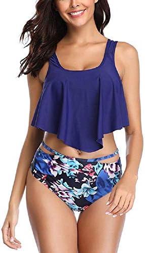 [해외]Swimsuits for WomenTwo-Piece Swimsuit High Waist Bikini Set Bathing Suit Swimwear for WomenRuffle Racerback Swimsuit (Navy L) / Swimsuits for WomenTwo-Piece Swimsuit High Waist Bikini Set Bathing Suit Swimwear for WomenRuffle Racer...
