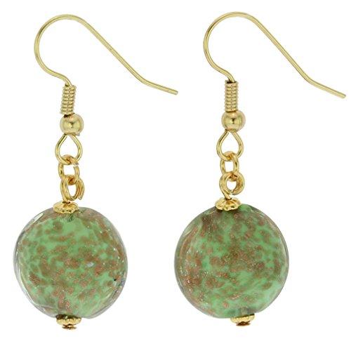 GlassOfVenice Murano Glass Starlight Disk Earrings - Seafoam Green