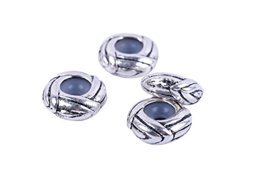 KONMAY Stopper Spacer 20pcs Antique Silver Stopper Spacer Beads for Charms Bracelet Necklace -