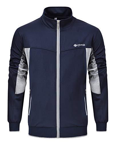 (Rdruko Men's Track Jacket Athletic Casual Sportswear Breathable Running Training Windbreaker Jackets(Blue Grey, US M))