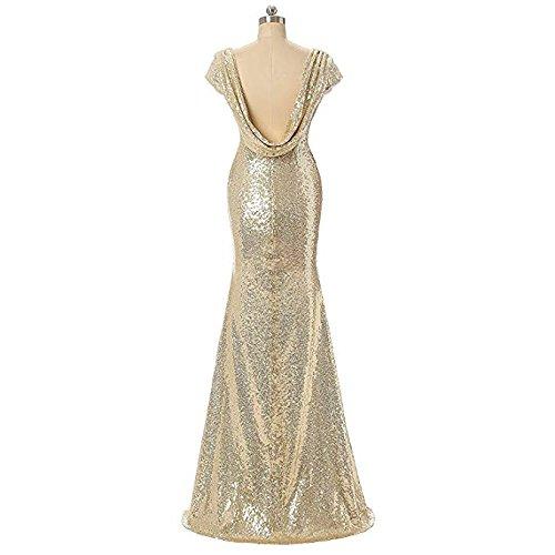 Aiyana Sirène Or V-cou Dos Nu Longues Robes De Demoiselle D'honneur Champagne Robe De Fête De Mariage