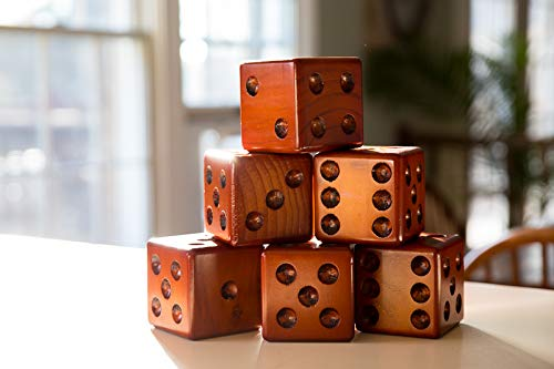 Yardzee Yard Dice Yard Farkle Dice Package, Large Wood Dice with Laminated Score Cards and Yard Farkle score cards, Yard games, Out door games, Wedding Games, Camping Games by Yardzee (Image #4)