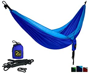 Golden Eagle Portable Camping Parachute Silk Double Hammock. Premium Quality. (dark/light blue)