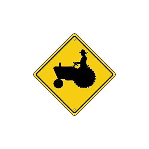 Crossing Highway Sign (Tractor Traffic Farm Crossing Traffic Metal Aluminum Sign Xing Yield 12x12)