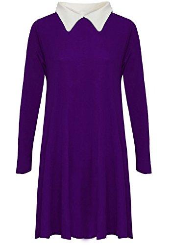 Neue Damen Lang Ärmel Peter Pan Kragen Uni Jersey Dehnbar lose Swing Kleid  Plus Größe UK 8-22: Amazon.de: Bekleidung