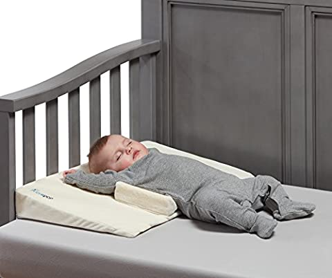 hiccapop Baby Crib Wedge with Anti Roll Pillow Bumpers | Incline Infant Sleep Wedge Stops Rolling and Sliding