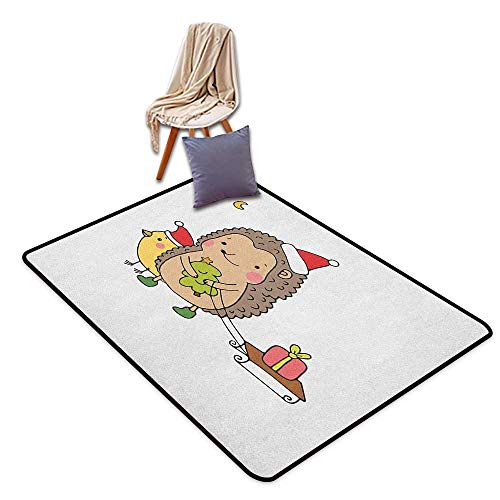 Bathroom Rug Bath Rug Hedgehog Cartoon Hedgehog with Bird and a Christmas Tree Pulling Sled Holiday Themed Image Girl Room Children's Room Kindergarten Decoration Rug W6'xL9' ()