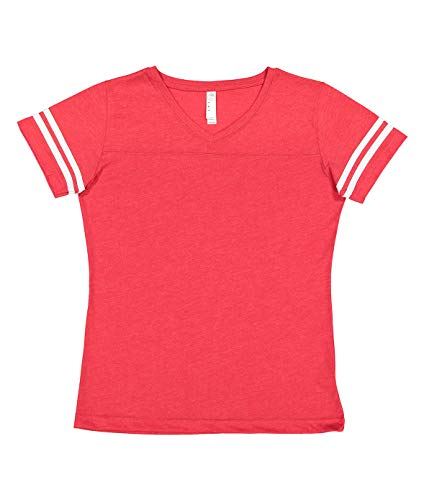 LAT Ladies' Fine Jersey Short Sleeve Football Tee (Vintage Red/Blended White, X-Large)