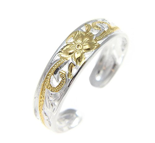 2 tone yellow gold plated Hawaiian plumeria flower scroll 4mm inside cut open toe ring (Two Tone Toe Ring)