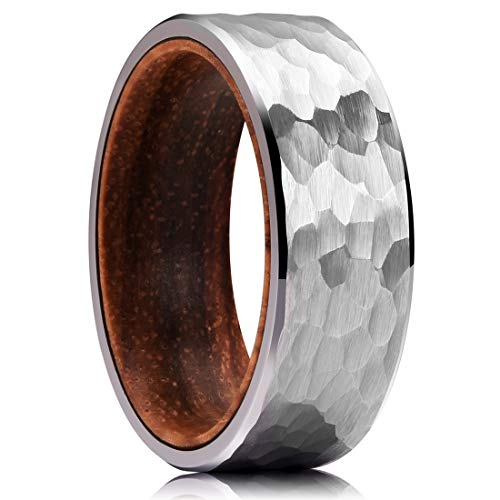 (King Will 8mm Metal Tungsten Carbide Ring Inner Hole Inlaid Wood Hammered Texture Flat Style 13)