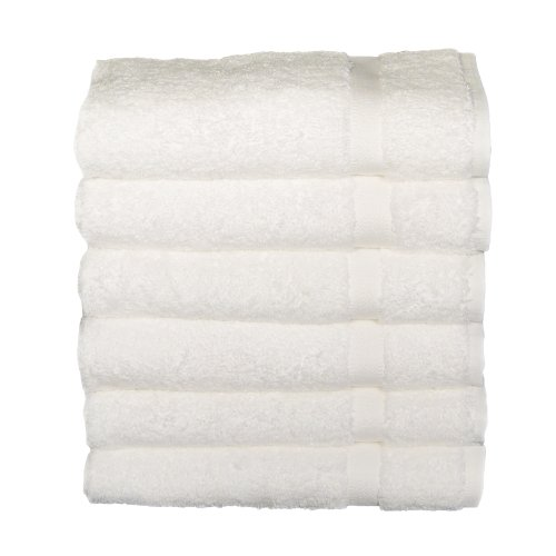 Baltic Linen Chelsea  100% Turkish Cotton Hotel Hand Towels 20 x 32-inch White 6 Pack
