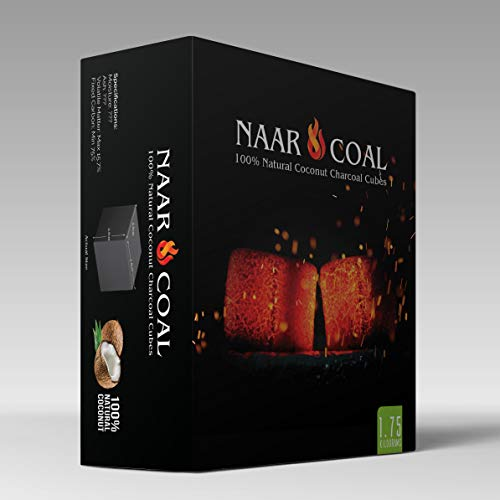 Price comparison product image Naar Coal 100% Natural Coconut Hookah Charcoal Cubes,  Shisha Coals 1.75 KG,  126 Count