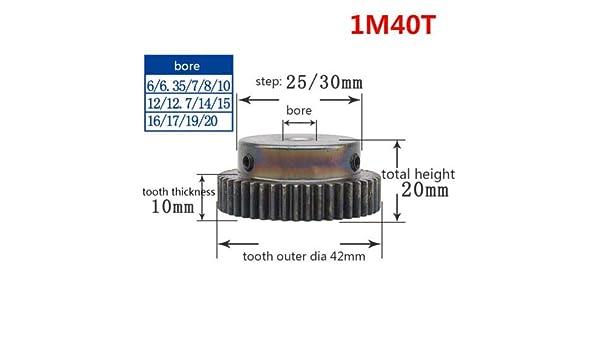 1M-40T 20mm Bore Hole 40 Teeth 40T Module 1 Motor Metal Gear Wheel Top Screw
