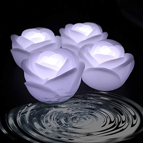 Acmee (Pack of 4) White Color Flameless Wax LED Water Floating Rose Candle Light for Wedding or Event Decoration./LED Floating Candle Light in Flower Shape (White)