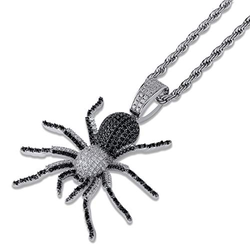 - JINAO Hip Hop Iced Out Spider Design Pendant Necklace with Micropave Simulated Diamond (Black)