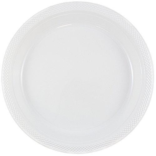 JAM Paper Bulk Round Plastic Party Plates - Medium - 9