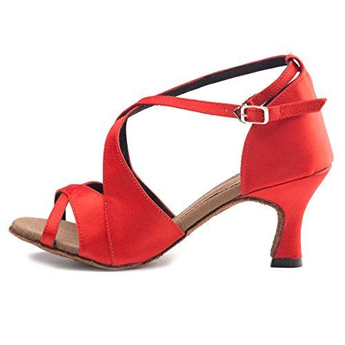 Da Tango Medio Womens Hroyl Sala Tacco Scarpe Raso Latino Ballo 6PwTwEq