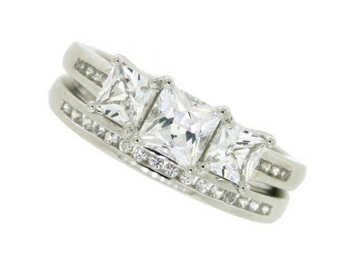 Sterling Silver Side Princess Cut Lab Created White Sapphire and Matching Band Ring, Size 7 (Princess Cut Sapphire Band)
