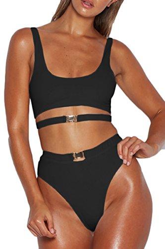 ioiom Womens Sexy Round Neck Cutout Strap Crop Top High Waist 2PCS Bikini Sets Swimsuit
