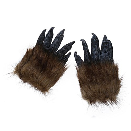 Party Masks - Nocm 1 Pair Wolf Gloves Halloween Mask Animal Set Werewolf Masquerade Size L Color Black - Funny Masks Pretty Rave Skull Blank Devil Full Trump Gloves Animal Witch Black Late ()